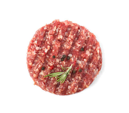 Raw meat cutlet for burger isolated on white, top view Stock Photo