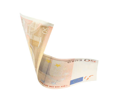Flying fifty Euro banknote isolated on white
