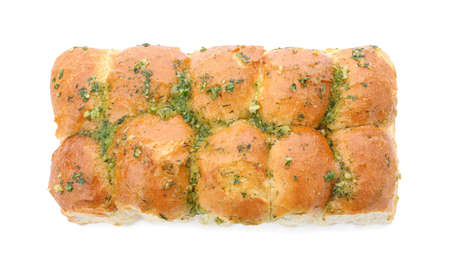 Buns of bread with garlic and herbs isolated on white, top view