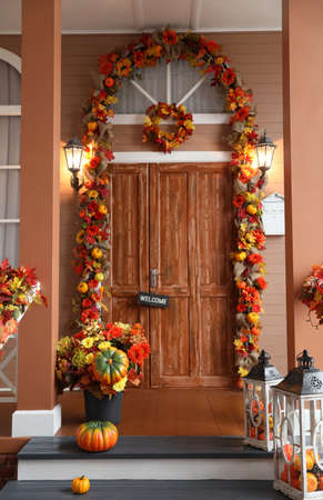 House entrance decorated for traditional autumn holidays
