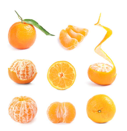Set of fresh ripe tangerines on white background