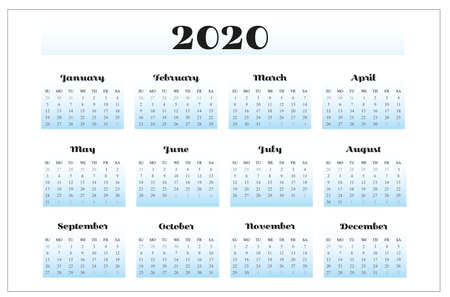 Design of 2020 calendar on white background. Illustration Stock fotó - 132615092