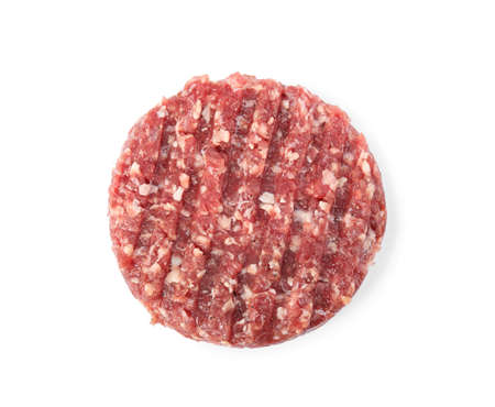 Raw meat cutlet for burger isolated on white, top view