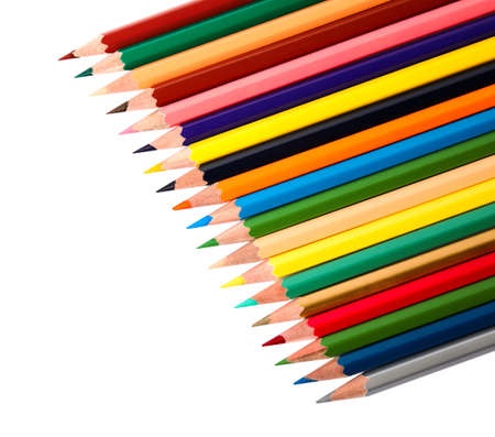 Different color pencils on white background. School stationery