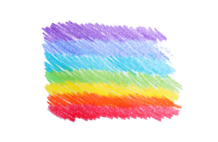Rainbow pencil hatching on white background, top view