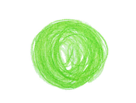 Green pencil scribble on white background, top view
