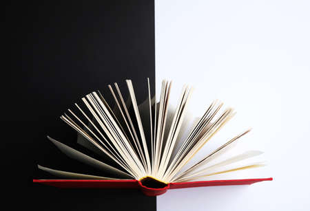 Hardcover book on color background, top view Stock Photo