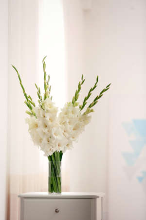 Vase with beautiful white gladiolus flowers on drawer chest in room, space for text Stock fotó