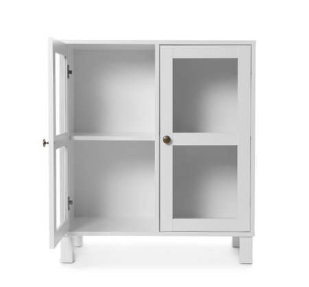 Empty wooden cabinet on white background. Stylish home furniture