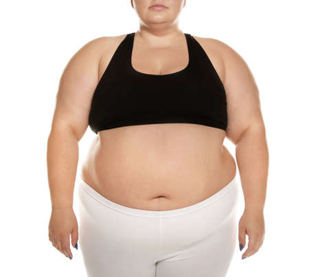 Overweight woman posing on white background, closeup