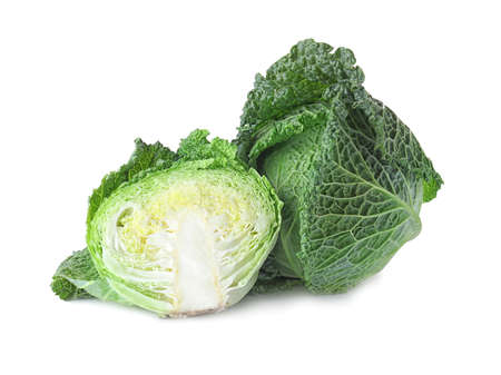 Fresh green savoy cabbages on white background Stock fotó