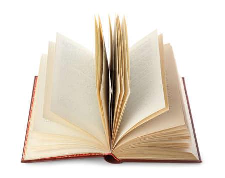 Open hardcover old book on white background 版權商用圖片