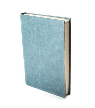 Book with blank blue cover on white background