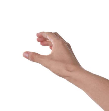 Frau hält etwas auf weißem Hintergrund, Nahaufnahme der Hand