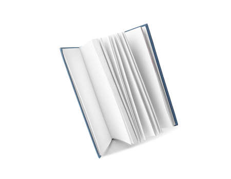 Open hardcover book with blank pages on white background 版權商用圖片