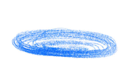 Blue pencil scribble on white background, top view