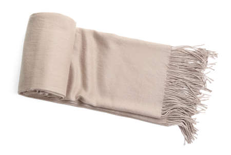 Stylish scarf on white background, top view Archivio Fotografico