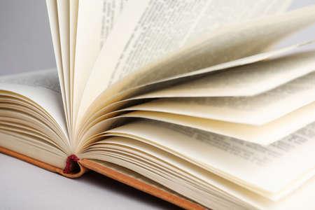Vista in primo piano del libro aperto su sfondo chiaro
