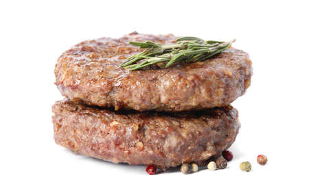 Grilled meat cutlets for burger isolated on white