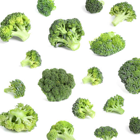 Collage of fresh green broccoli isolated on white Stock Photo