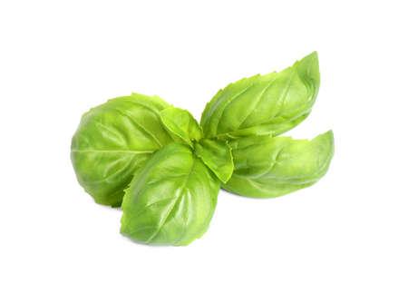 Fresh green basil leaves isolated on white Foto de archivo - 133571683