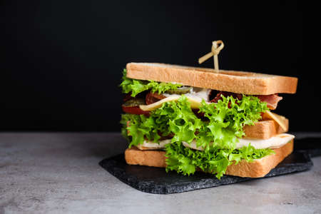 Yummy sandwich with bacon and chicken on table