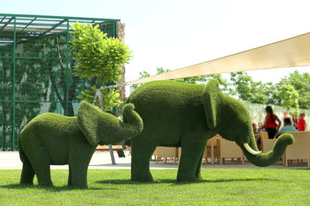 Beautiful elephant shaped topiaries at zoo on sunny day. Landscape gardening Stock Photo