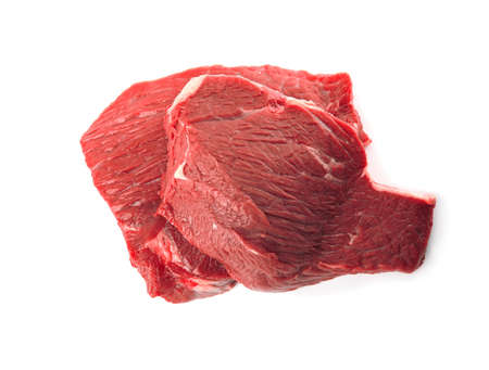 Fresh raw beef cut isolated on white, above view Stock fotó