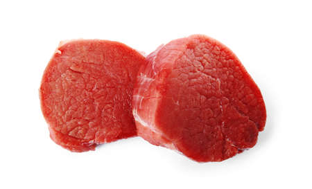 Fresh raw beef cut isolated on white, top view