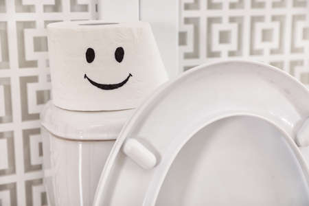 Roll of paper with funny face on toilet tank in bathroom, closeup