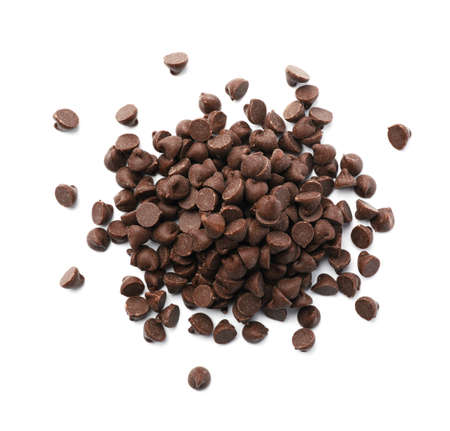 Pile of delicious chocolate chips isolated on white, top view