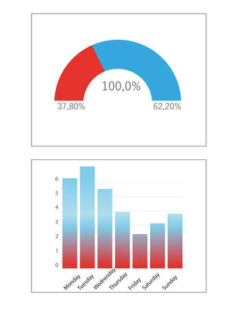 Different colorful graphs with statistic information. Illustration Zdjęcie Seryjne
