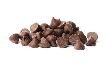 Pile of delicious chocolate chips isolated on white