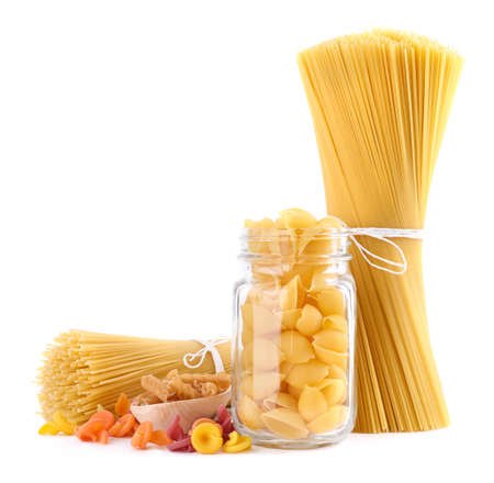 Different types of pasta isolated on white