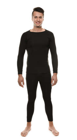 Man wearing thermal underwear isolated on white