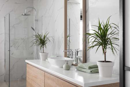 Large mirror and vessel sink in bathroom Фото со стока