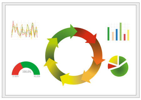 Illustration of colorful graphs on white background