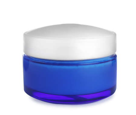 Jar of organic cream isolated on white Reklamní fotografie