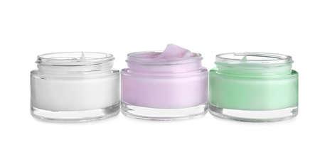 Jars of organic cream isolated on white Reklamní fotografie