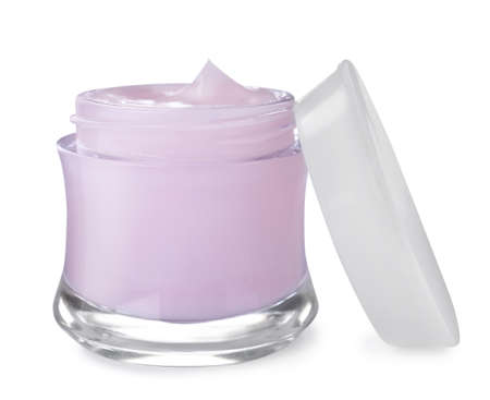 Jar of organic cream and cap isolated on white