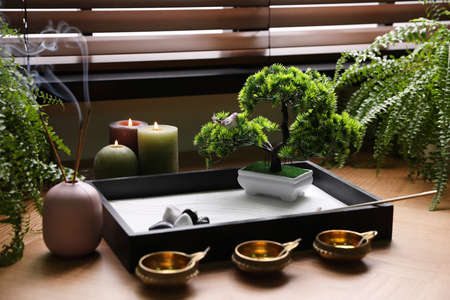 Beautiful miniature zen garden, candles and oil lamps near window indoors Stock Photo