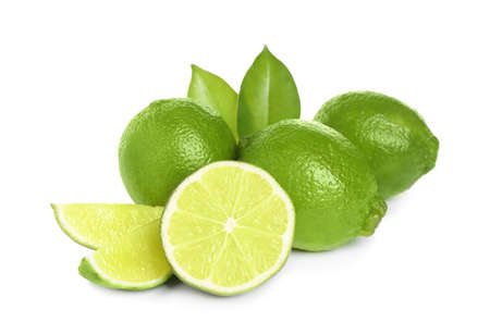 Fresh ripe green limes isolated on white