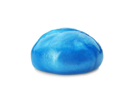 Blue slime isolated on white. Antistress toy