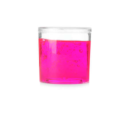 Magenta slime in plastic container isolated on white. Antistress toy 写真素材