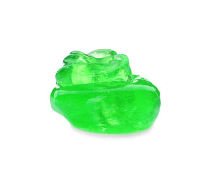 Green slime isolated on white. Antistress toy