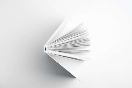 Open book with hard cover on white background, top view