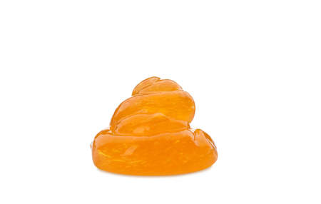 Orange slime isolated on white. Antistress toy