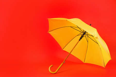 Beautiful yellow umbrella on red background. Space for text Zdjęcie Seryjne