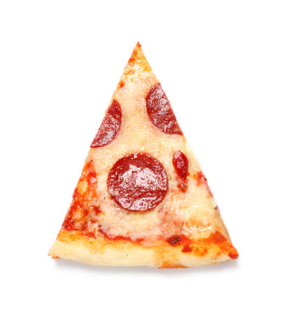 Slice of hot delicious pepperoni pizza on white background, top view Stock fotó