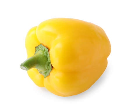 Ripe yellow bell pepper isolated on white